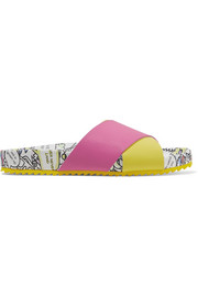 Mira Mikati Rainbow Monster printed textured-leather slides