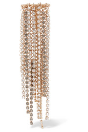 Fringed gold-tone crystal brooch