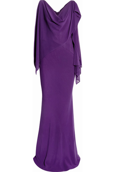 Gareth Pugh - Draped Silk-blend Chiffon Gown - Purple