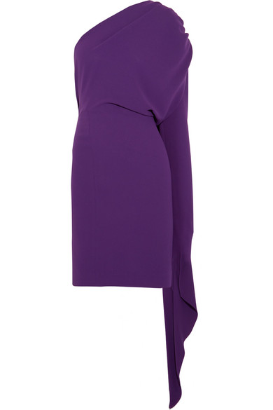 One-shoulder crepe mini dress
