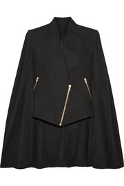 Asymmetric cotton and silk-blend crepe de chine cape