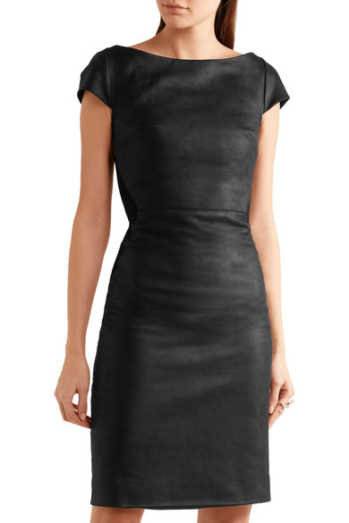 e78ab226fa Gareth Pugh. Paneled leather and stretch-jersey mini dress