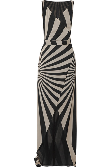 Gareth Pugh - Printed Stretch Silk-blend Chiffon Wrap Maxi Dress - Beige
