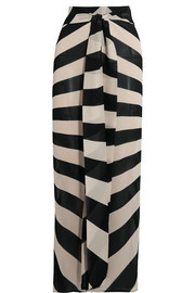 Tie-front striped silk-blend chiffon maxi skirt