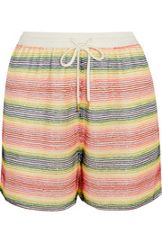 Beaded silk-georgette shorts