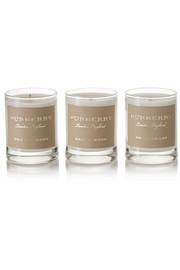 Cedar Wood, Black Amber and Dewy Grass set of three scented candles, 3 x 65g