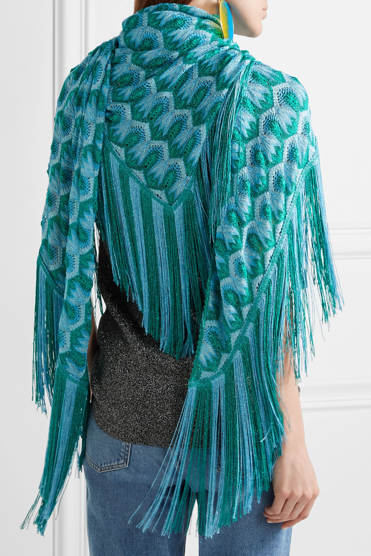 Missoni Metallic fringed crochet-knit scarf