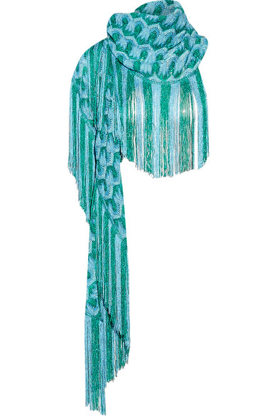 Missoni - Metallic Fringed Crochet-knit Scarf - Blue