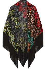 Fringed embroidered crochet-knit wrap