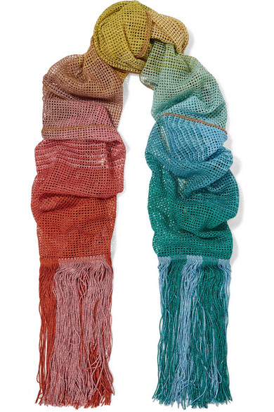 Missoni - Fringed Metallic Crochet-knit Scarf - Blue