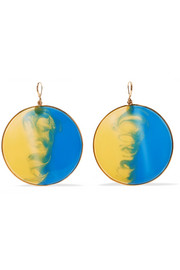Gold-tone enamel earrings