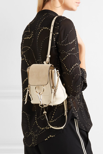 Chloé | Faye mini leather and suede backpack | NET-A-PORTER.COM