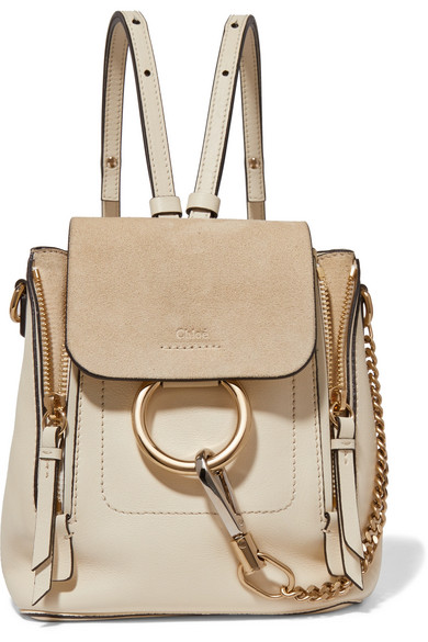3dfe7fb9a9 Chloé   Faye mini leather and suede backpack   NET-A-PORTER.COM