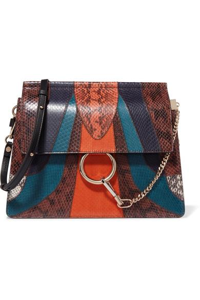 Chloé - Faye Medium Elaphe And Leather Shoulder Bag - Orange