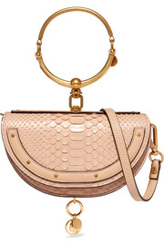 Chloé Nile small leather-trimmed python shoulder bag