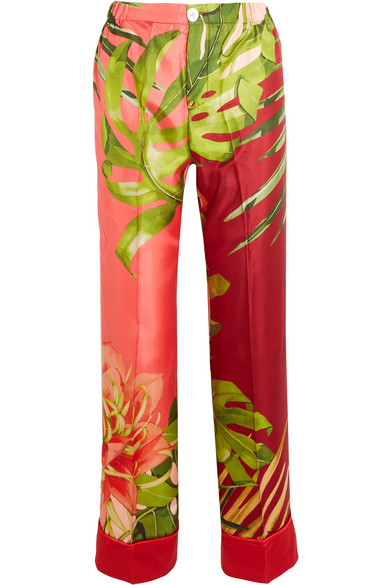 F.R.S For Restless Sleepers - Etere I° Printed Silk-twill Straight-leg Pants - Green