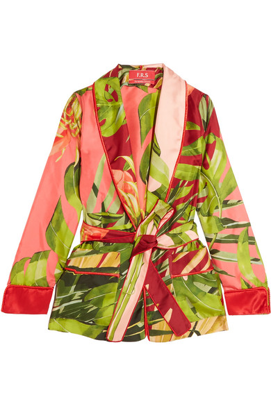 F.R.S For Restless Sleepers - Armonia Printed Silk-twill Jacket - Green