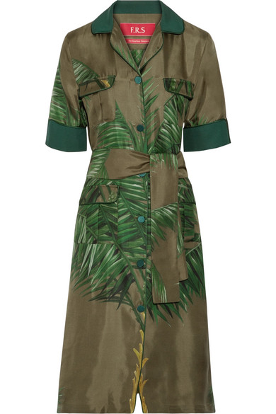 F.R.S For Restless Sleepers - Meti Belted Printed Silk-twill Dress - Army green