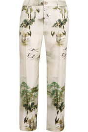 Tartaro printed silk-twill straight-leg pants
