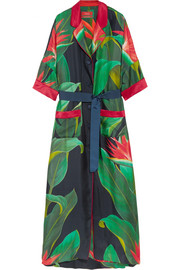 Eurinome belted printed silk-twill maxi dress