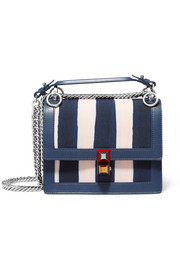 Kan I mini leather-trimmed striped canvas shoulder bag