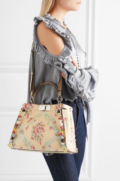 ab5086f727 Fendi. Peekaboo medium appliquéd floral-print leather tote.  6