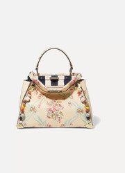 Fendi Peekaboo medium appliquéd floral-print leather tote