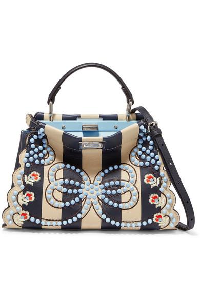 6be14f45a47e Fendi. Peekaboo mini embellished striped leather shoulder bag
