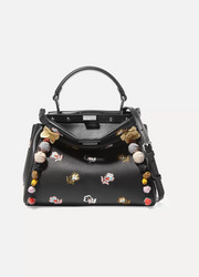 Fendi Peekaboo mini appliquéd embroidered leather shoulder bag