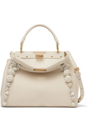 Fendi Peekaboo floral-appliquéd leather shoulder bag