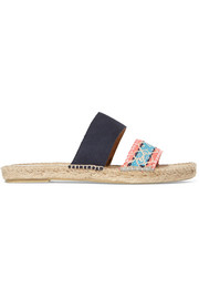 Manebi Hamptons suede and brocade espadrille slides