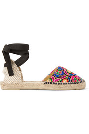 Mirror-embellished embroidered canvas espadrilles