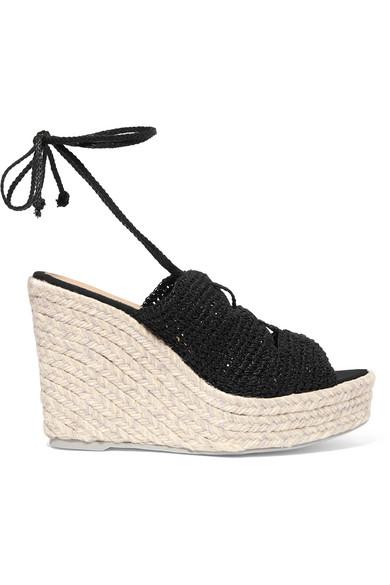Manebi - Rio De Janeiro Crocheted Espadrille Wedge Sandals - Black