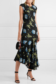Evelyn asymmetric printed silk-georgette midi dress