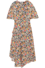 Aster ruffled floral-print silk crepe de chine midi dress