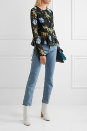Evelyn open-back embellished printed silk-georgette blouse