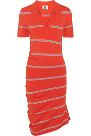 Margot asymmetric striped stretch-knit dress