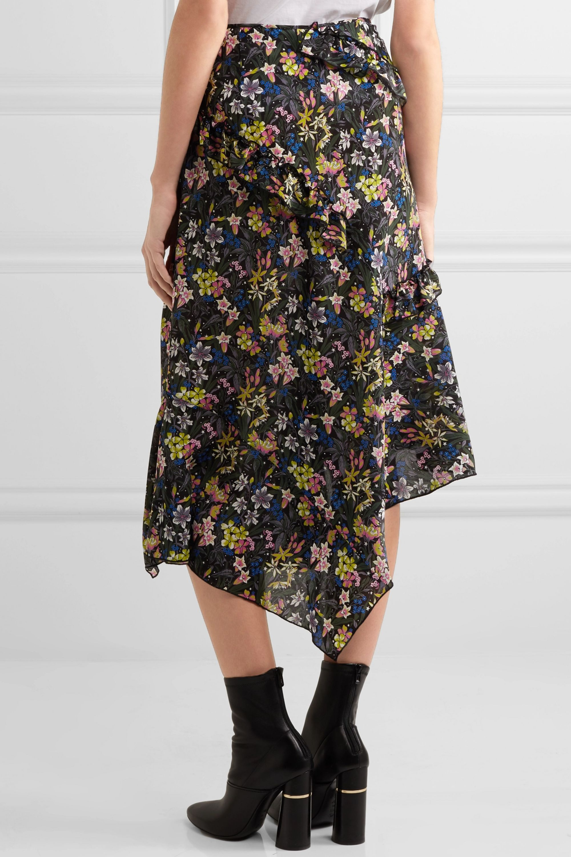 Topshop Unique Aster ruffled printed silk crepe de chine skirt