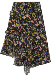 Aster ruffled printed silk crepe de chine skirt