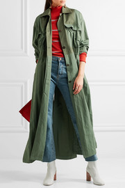 Redford oversized cotton canvas-paneled twill trench coat