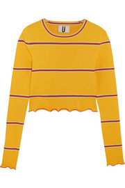 Margot striped stretch-knit top