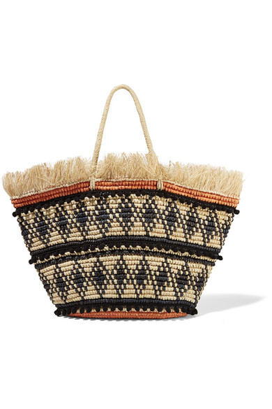 Sensi Studio - Frayed Embellished Woven Toquilla Straw Tote - Cream