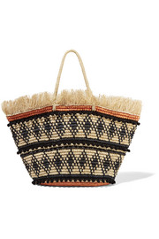 Frayed embellished woven toquilla straw tote