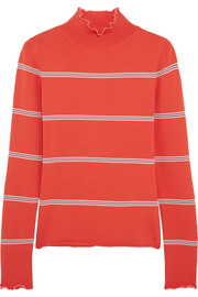 Margot striped stretch-knit turtleneck top