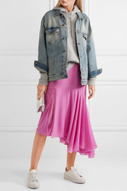 Evelyn asymmetric pleated silk crepe de chine skirt