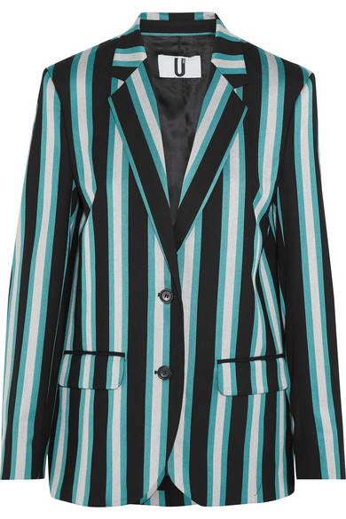 Topshop Unique - Beale Striped Satin-twill Blazer - Turquoise