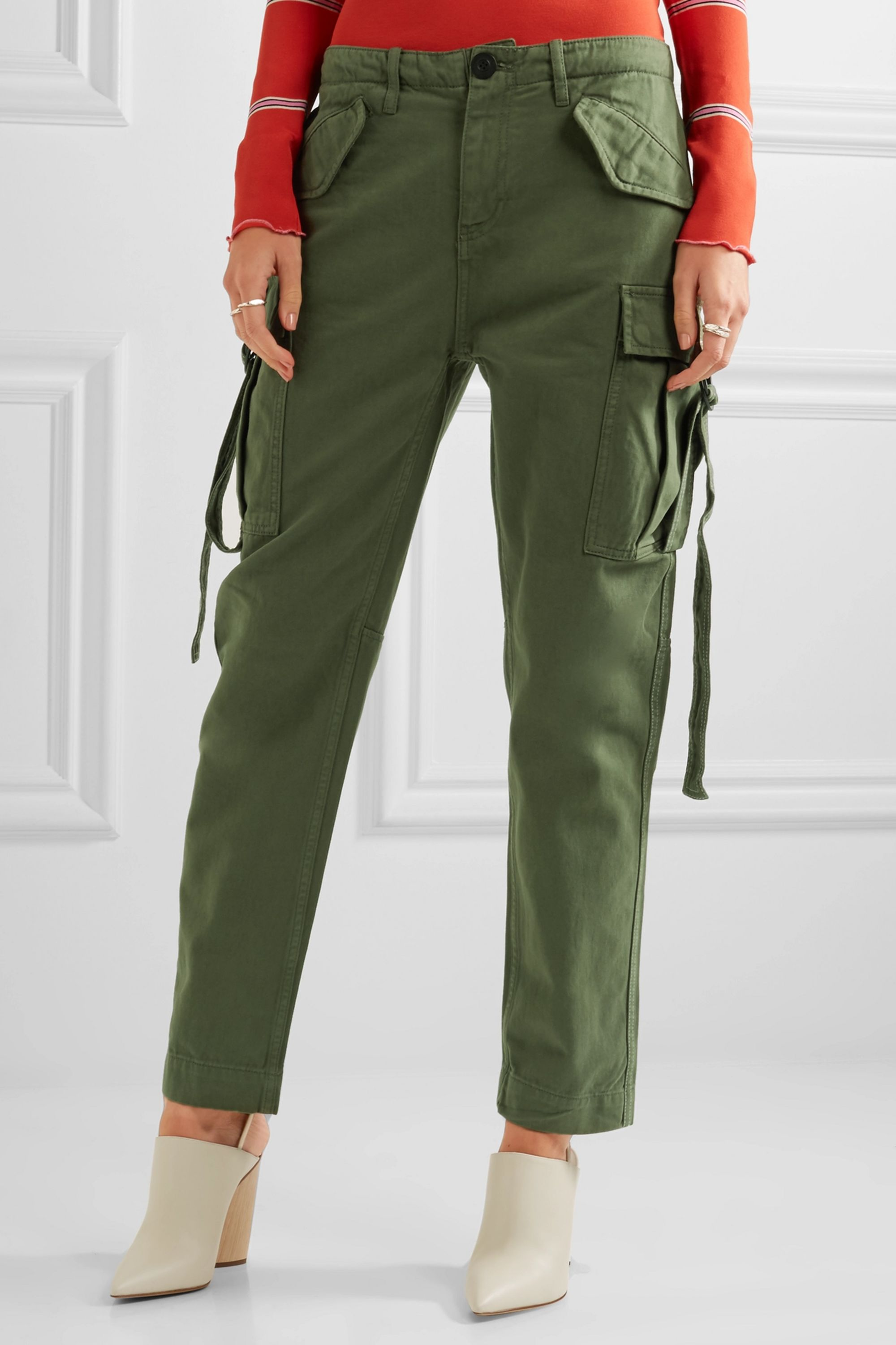 Topshop Unique Hopper cotton-twill tapered pants