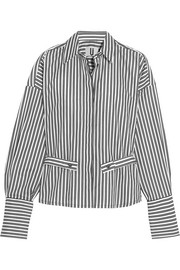 Topshop Unique Tiller oversized striped cotton shirt