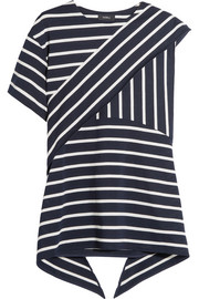 Asymmetric striped cotton-blend top