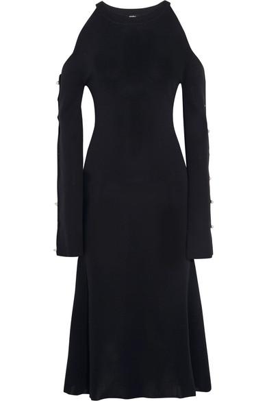 Goen J - Cold-shoulder Faux Pearl-embellished Knitted Dress - Navy